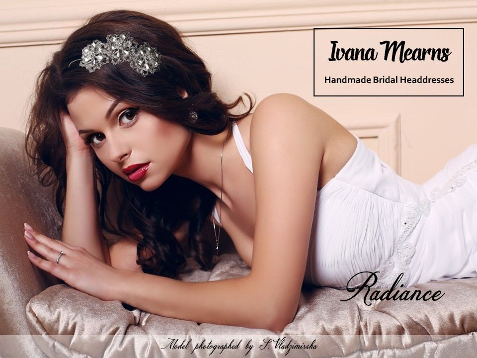 A sparkly bridal headpiece by Ivana Mearns