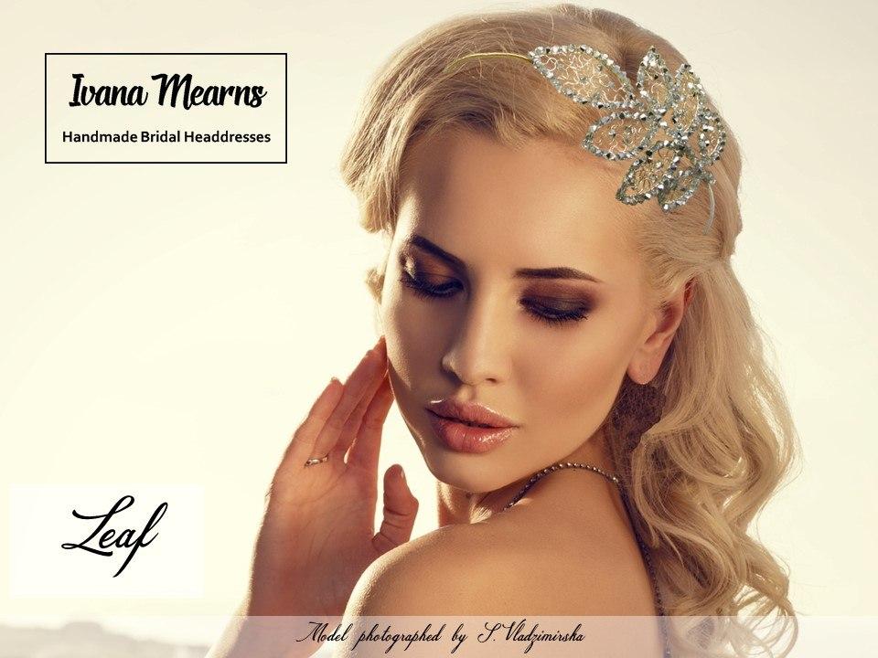 Leaf-shaped bridal headpiece